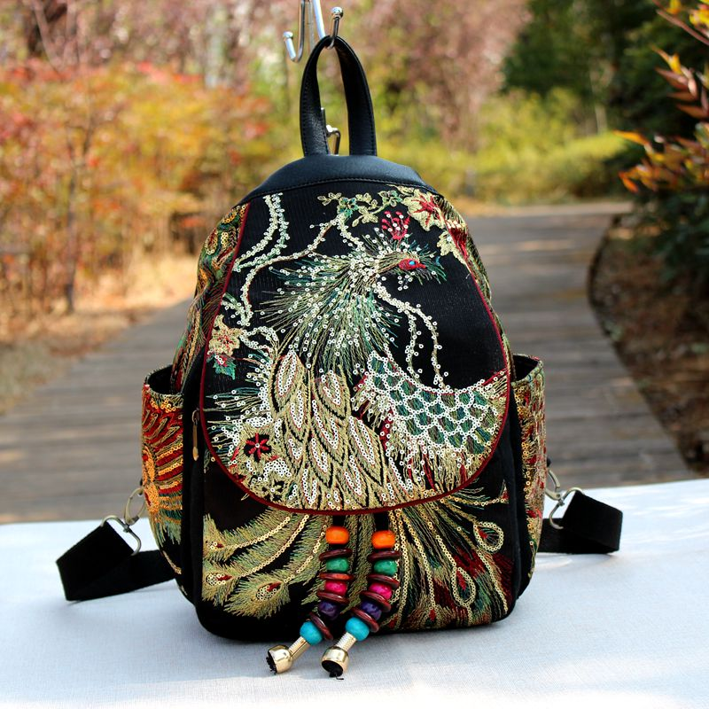 2019 New Traditional Backpacks Teenager Girls National Embroidery Backpack Travel Shoulder Bags School Bag Women Backpacks 332 1
