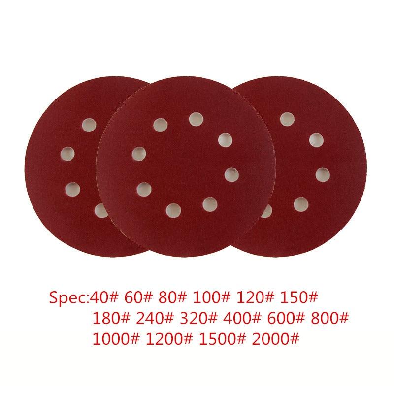 5 Pieces 8 Hole 5 Inch/125mm OD Multi Grit Sanding Disc Random Orbit Hook & Loop Sander Sand Paper Discs Grit Sand