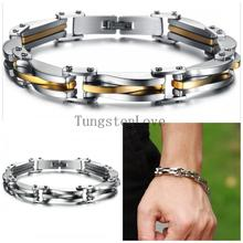 22*0.9cm Punk Style 316L Stainless Steel Two Tone Mens Bracelet Link Chain Biker Bicycle Jewelry Bracelets pulseira masculina