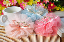 new hot South Korea style baby girl crown gauze hair clip child kids gauze taria bow