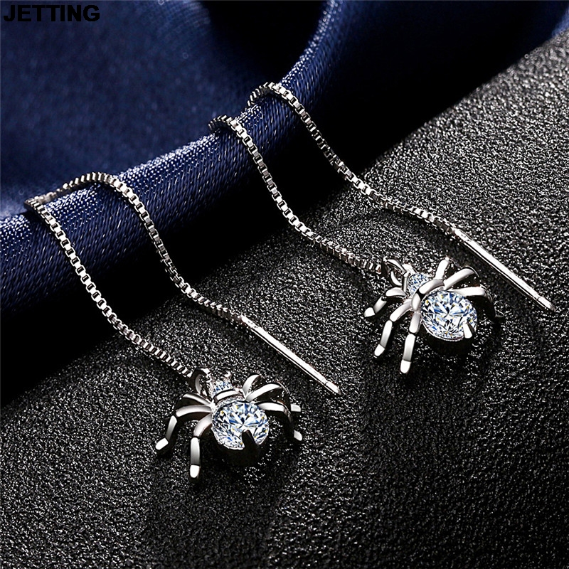 JETTING Punk Gold Color Alloy Sexy Dangle Long Crystal Spider Earrings Jewelry Earrings for Women 1Pair