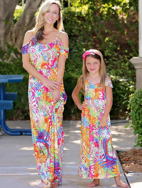 Camiseta larga madre hija vestidos familia Look Mommy and Me ropa mamá e hija trajes a juego ropa de vestir