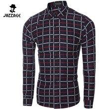 2016 Hombres Camisa A Cuadros de manga Larga camisa Chemise Homme Camisas Hombre Camisas de Vestir Casuales Para Hombre Camisa Masculina Sociales DWQS