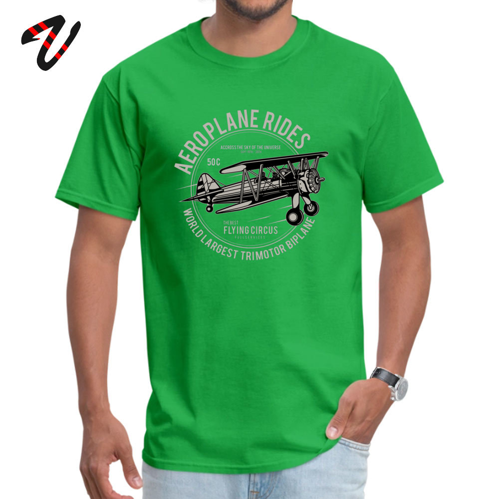 Casual cosie Short Sleeve Tops T Shirt April FOOL DAY Crew Neck 100% Cotton Men's T Shirts cosie Top T-shirts Plain Airplane Rides The Best Flying Circus 3045 green