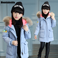 Fashion New Winter Jackets Girls Down Cotton Parkas 4-13Y Children's Hooded long Coats Fur Collar Warm Kids Snowsuit Kids SC671