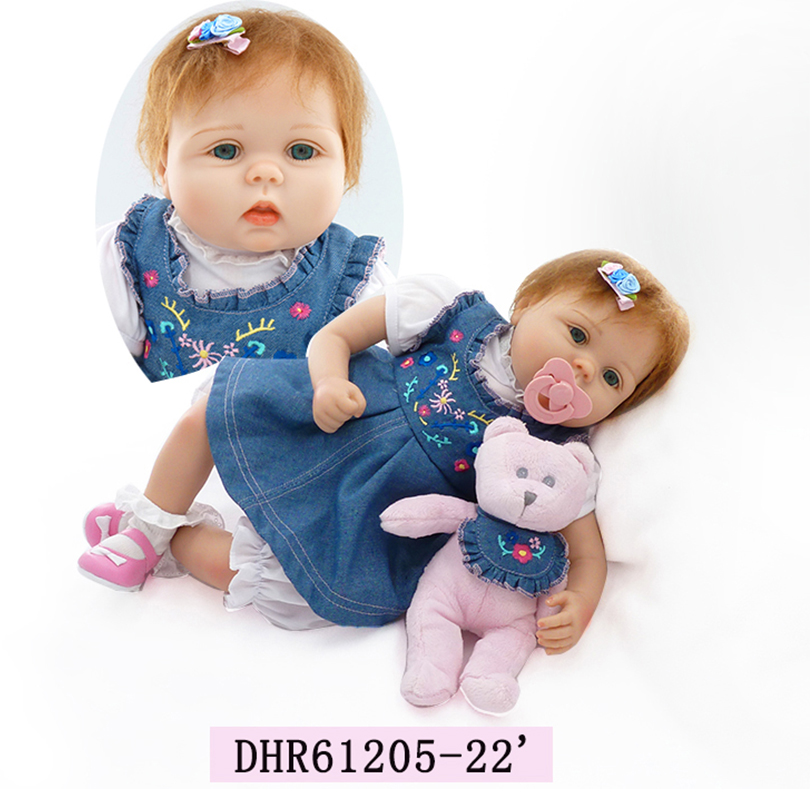 2017 New Fashion Reborn Baby Dolls With Pacifier 55 Cm Girl Real Touch Toys Full Body  Silicone Doll For Children Holiday Gift 23 russian silicone reborn baby girl full body vinyl dolls touch real baby dolls lifelike real hair new 2017 kids playmates