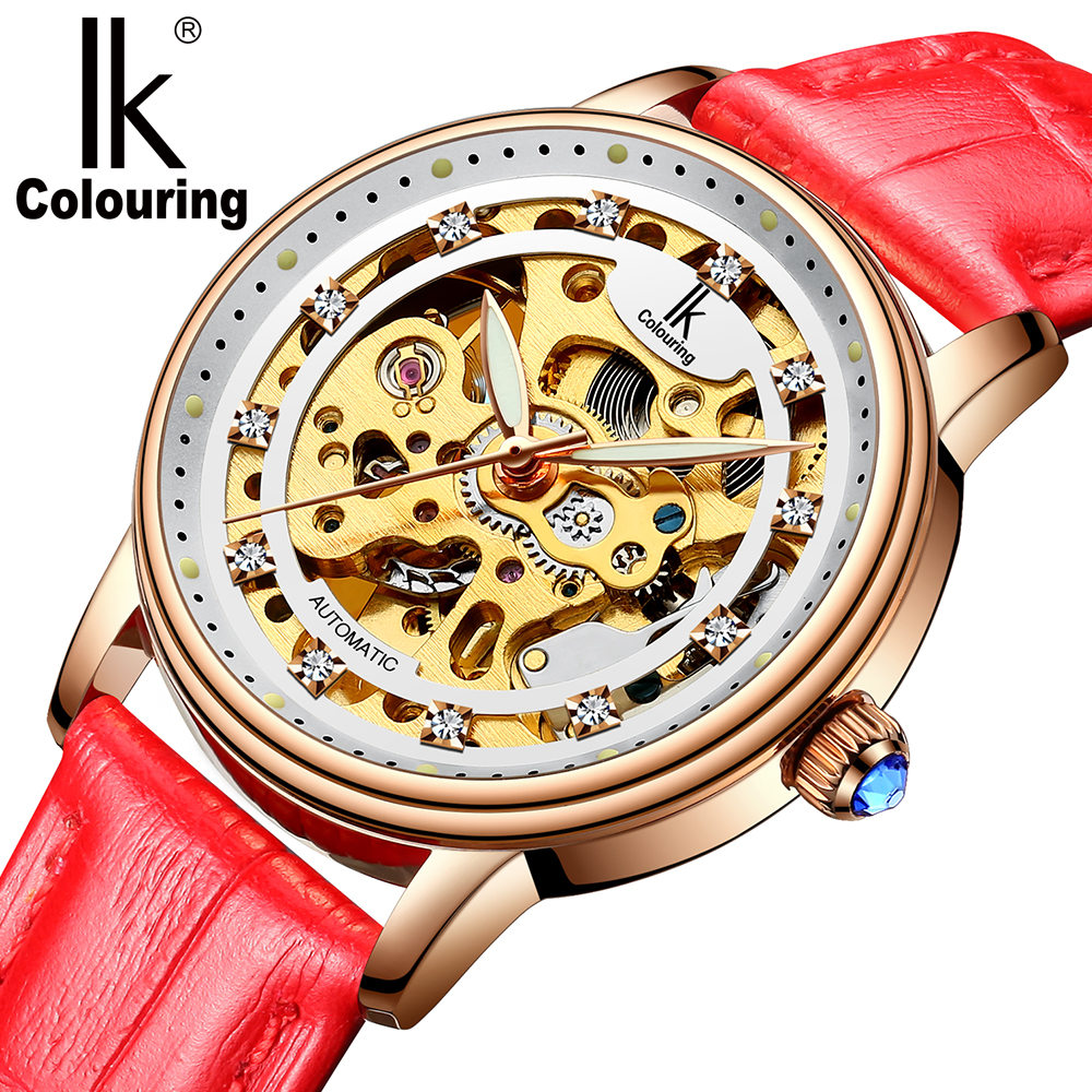 IK Colouring New Women Mechanical Watches Skeleton Dial Automatic Wristwatch Luxury Rose Gold relogio feminino ik colouring montre femme luxury rhinestone studded lady wristwatch automatic mechanical date display relogio feminino
