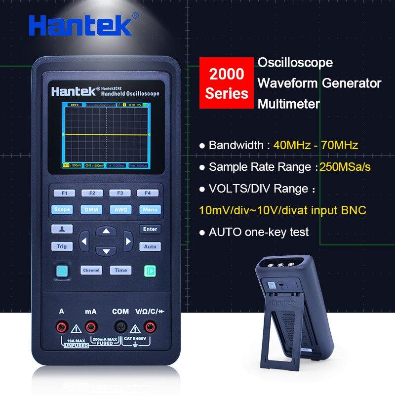 Hantek handheld Osciloscópio multímetro USB + Gerador de forma de Onda 3 em Canais de osciloscópio automotivo 2 1 40 mhz 70 mhz LCD exibição