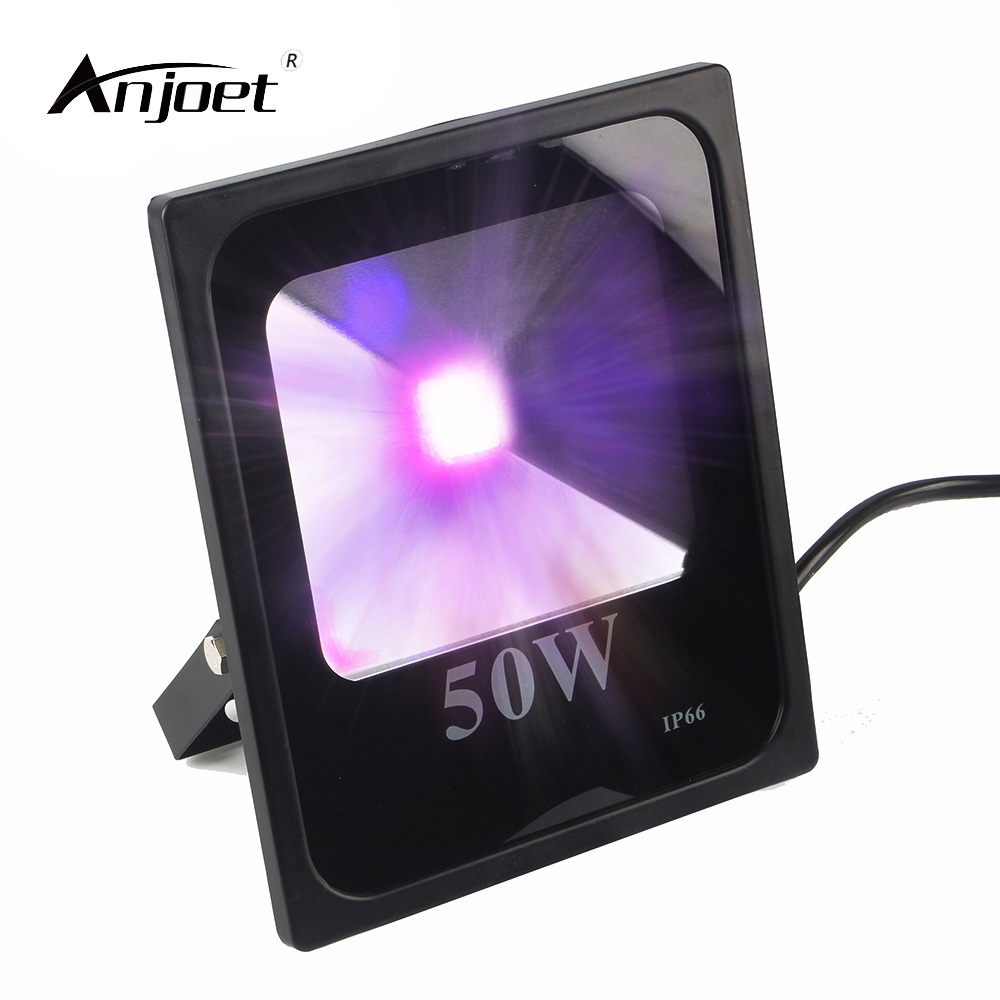 ANJOET UV LED Black Light,  High Power 50W Ultra Violet UV LED Flood Light IP66-Waterproof (85V-265V AC) for Blacklight Party 10w 12w ultra violet uv 365nm 380nm 395nm high power led emitting diode on 20mm cooper star pcb