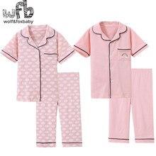 Retail 3 14 jaar korte mouwen cotton kinderen thuis nachtkleding meisjes jongens baby pyjama sets herfst herfst zomer