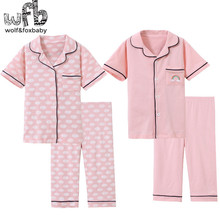 Retail 3 14 years short sleeves cotton childrens home nightwear girls boys baby pajama sets autumn fall summer