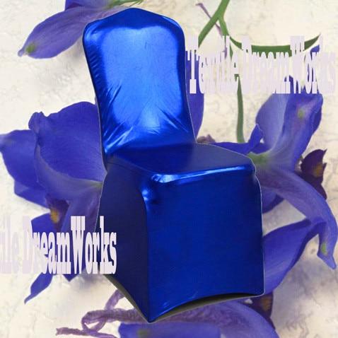 50 шт. блестящий серебристый металлик двусторонней спандекс Чехлы для стульев/лайкра Чехлы для стульев для Свадебные украшения - Цвет: Royal Blue
