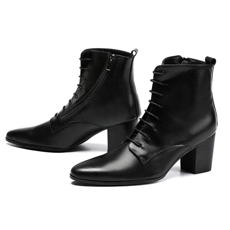 Black Soft Leather Ankle Boots Thick Heels Men Shoes Cowboy Boots Men High Heels 6.8cm Zapatos Hombre Lace Up Man Boots 46