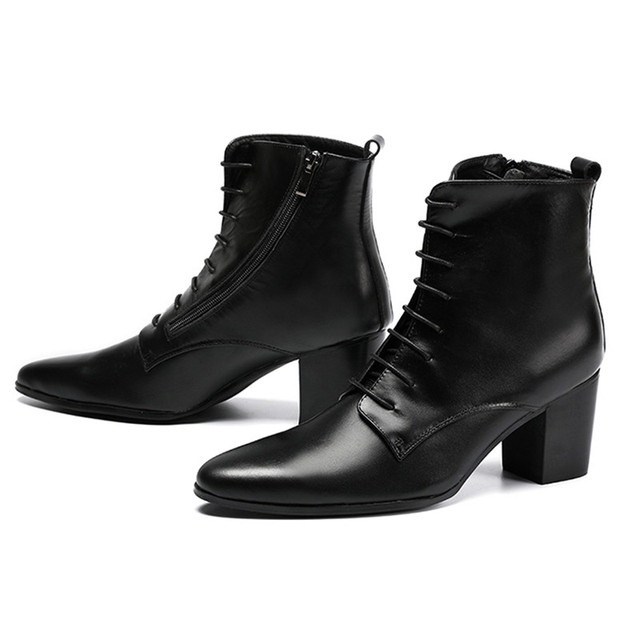 Black Soft Leather Ankle Boots Thick Heels Men Shoes Cowboy Boots Men High  Heels 6.8cm Zapatos Hombre Lace Up Man Boots 46 9688765d3bf9