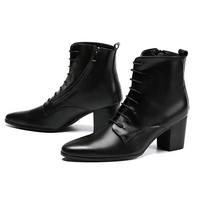 Black Soft Leather Ankle Boots Thick Heels Men Shoes Cowboy Boots Men High Heels 6.8cm Zapatos Hombre Lace Up Man Boots 46
