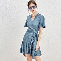Runway Dress Women Dot Chiffon Fabric V Neck Flare Sleeves Tie Waist Irregular Ruffles Hem Mini Dress Party 2018 New Fashion