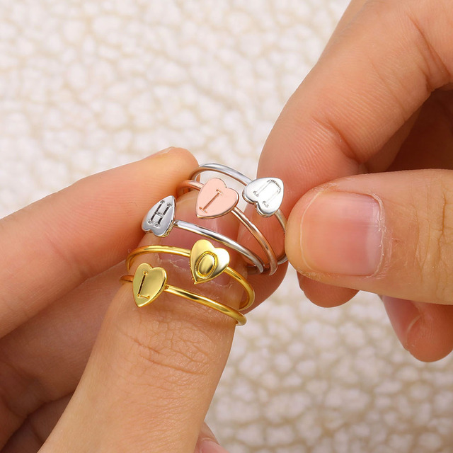 FAMSHIN Gold Silver Color Heart Letters Name Ring Set Engagement Party Jewelry 1