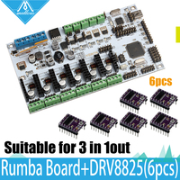 3D Printer Diamond Hotend Brass Multi Color Nozzle Control Kits Mother Rumba Board With 6pcs DRV8825