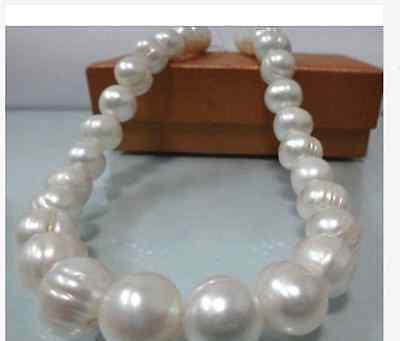 classic12-13mm round south sea white baroque pearl necklace18inch>Selling jewerly free shipping
