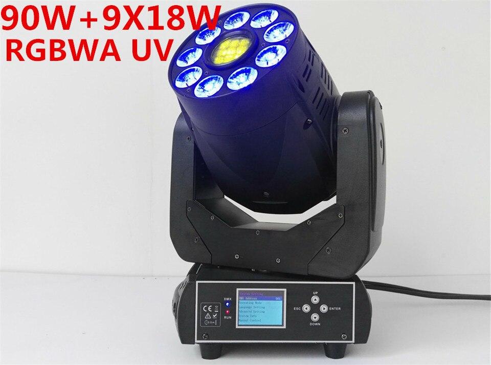 Hot-vendita 90 W LED Spot gobo + 9x18 W RGBWA + UV Luce In Movimento Testa/USA Luminums 90 W LED dmx DJ Spot Light