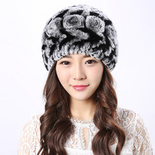 Genuine Rex Fur hat caps for women 2017 winter hat 100% Natural Genuine fur cap skullies & beanies Casual thicking hat women cap