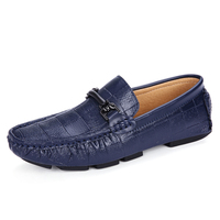 Men PU Leather Flats Casual Loafers Slip on Male Dress Shoes Moccasins Outdoor Boat Driving Sneakers Blue White Man Fashion Shoe