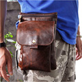 Hot Sale Top Quality Genuine Real Leather Cowhide men Small Messenger Bag Pouch Waist Belt Pack Bag