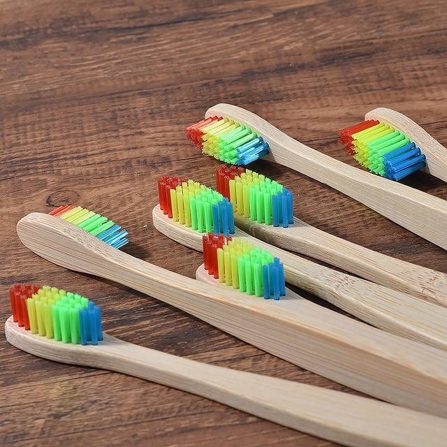 Nuovo disegno misto di colore di bambù spazzolino da denti Eco-Friendly in legno Spazzolino Da Denti a setole Morbide Punta del Carbone di legna di adulti igiene orale spazzolino da denti 4