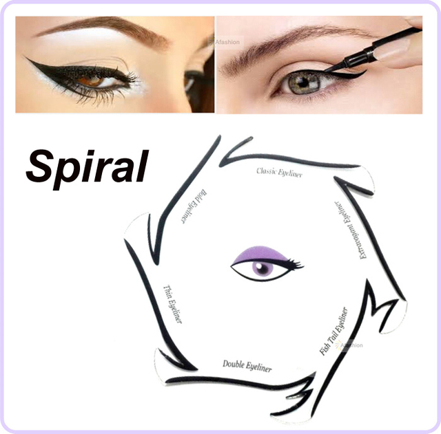 1pc Spiral style eyeliner stencil kit 6 model for eyebrows guide template maquiagem eye makeup drawing a diy card