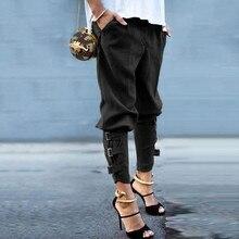 все цены на Solid Color Leisure Pencil Trousers Ribbon Design Streetwear Trousers Slim Stretch Fashion Woman Pants Women Cargo High Waist онлайн