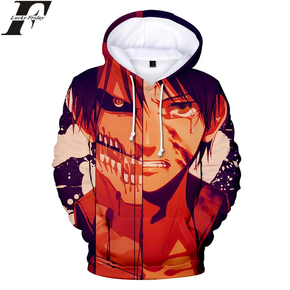 LUCKYFRIDAYF 2018 Attack on Titan 3D Hoodies Sweatshirt Anime Women/Men Regular Hoodies With Cap Style Hoodies Clothes Plus Size