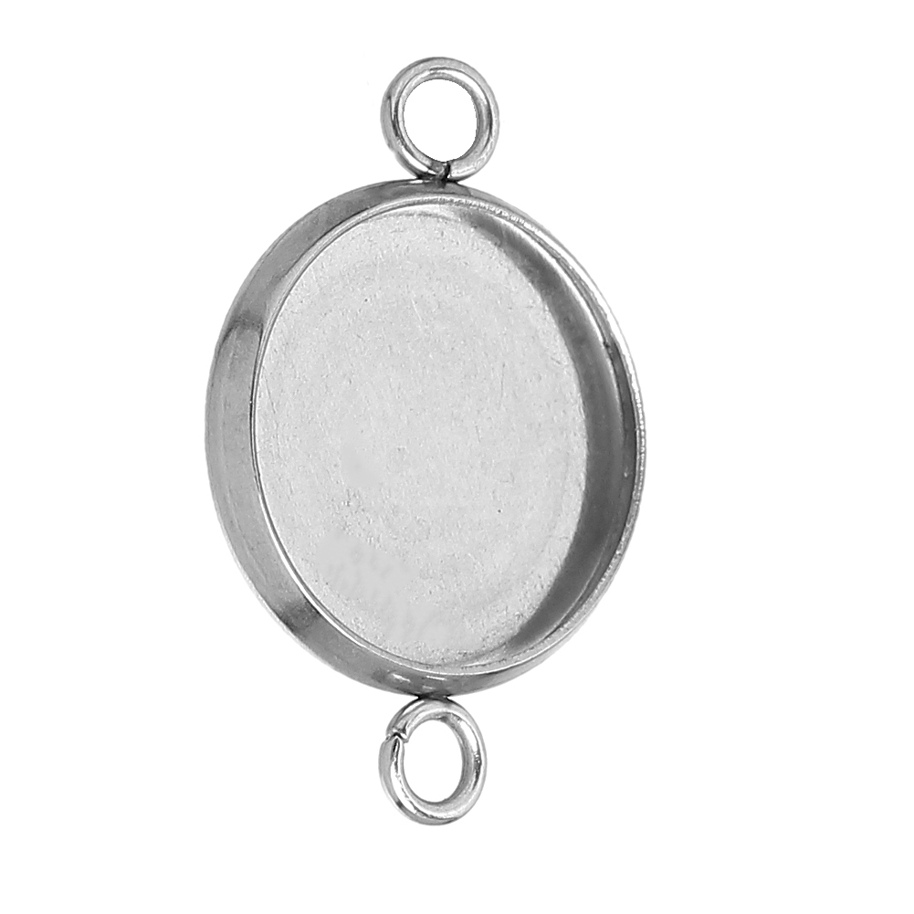 "DoreenBeads Stainless Steel Connectors Round Silver Tone Cabochon Settings (Fit 12mm ) 21mm( <font><b>7</b></font>/<font><b>8</b></font>"") <font><b>x</b></font> 14mm( 4/<font><b>8</b></font>""), <font><b>20</b></font> PCs"