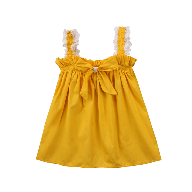 Casual Kids Baby Girls Lace Dress Ruffles Bow Party Dresses Sundress Yellow  Dress for Little Girl 219fa2049d4c