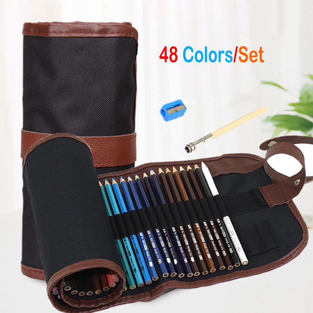 48PCS Art Coloured Pencils with Portable Canvas Pencil Wrap Pouch for Adult Coloring Books Drawing Writing Sketching Doodlings writing