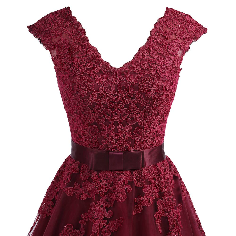 4d804ef1ad5 Cheap Tea Length Burgundy Homecoming Dress 2018 Short V Neck Lace  Homecoming Dress With Sleeves Plus Graduation Dresses Gowns-in Homecoming  Dresses from ...