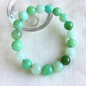 Genuine Natural Blue Grass Green Australia Jade Chrysoprase Stretch Bracelet Round Beads 10mm 05227