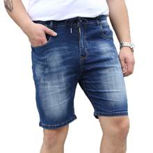 Plus Size Men's Washed Denim Shorts Knee Length Indigo Short Jeans with Drawstring Waist 2017 Summer XXL-6XL