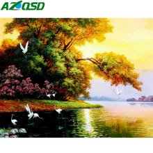 AZQSD Diamond Embroidery Scenery Picture Rhinestones Painting Full Square Handmade Mosaic Landscape Wall Decor