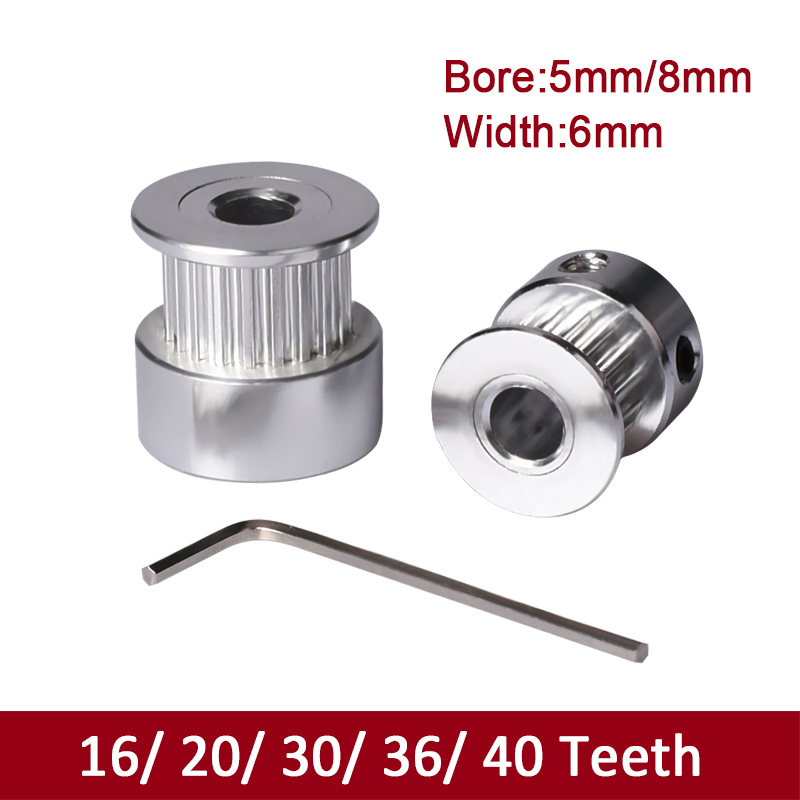 3D Printer Parts GT2 Pulley 20 Teeth Bore 5mm Alumium Fit For GT2 Timing Belt Width 6mm RepRap 3D Printer