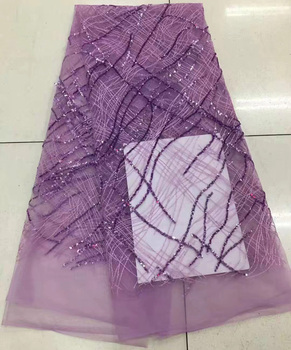 Free shipping 5yards/lot  High quality lilac purple African sequins lace fashion French net lace fabric for party dress QNJ57