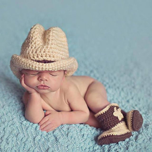 2017 winter newborn baby infant photography props crochet knit cowboy costume hat shoes 2pcs baby