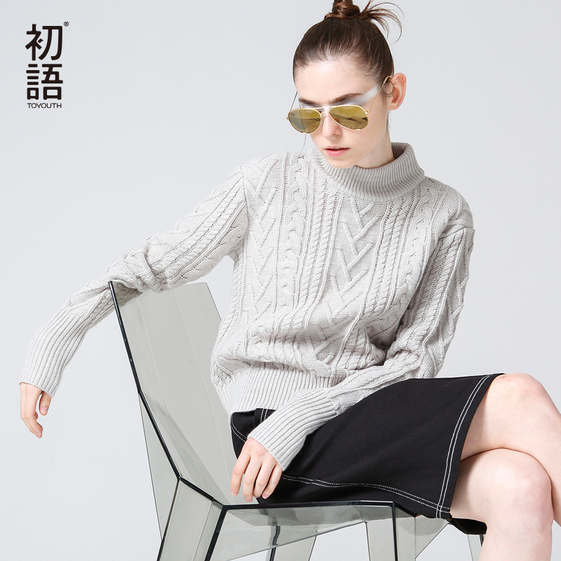Toyouth Sweaters 2017 Spring New Women Vintage Solid Color Long Sleeve Casual Turtleneck Pullovers Sweater