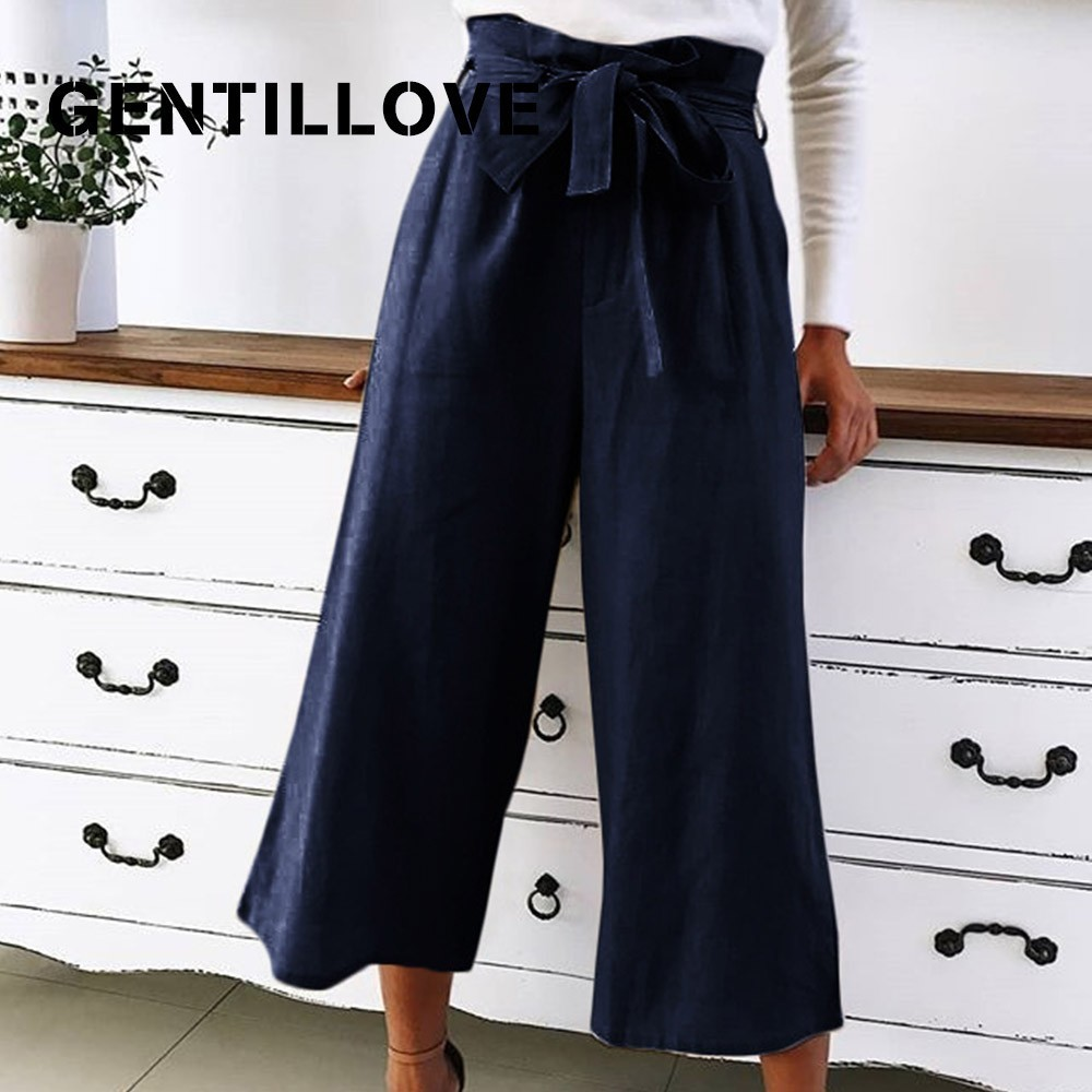 Casual Loose   Wide     Leg     Pants   Womens Elegant Fashion Preppy Style Trousers Female Solid Palazzo   Pants   High Waist Bow   Pants
