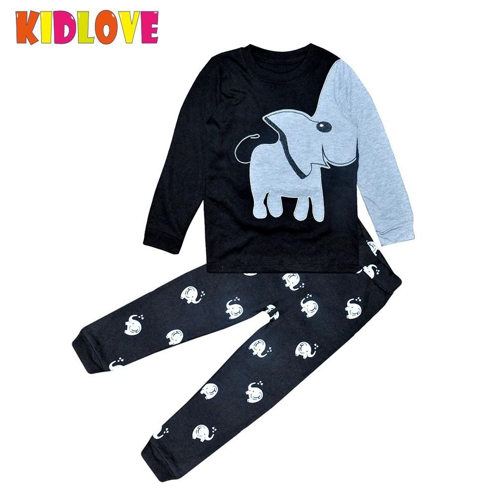 KIDLOVE Baby Kids Cartoon Elephant Clothing Sets Breathable Print Top Pants Pajamas Soft Cotton Comfortable Sleepwear Set ZK30
