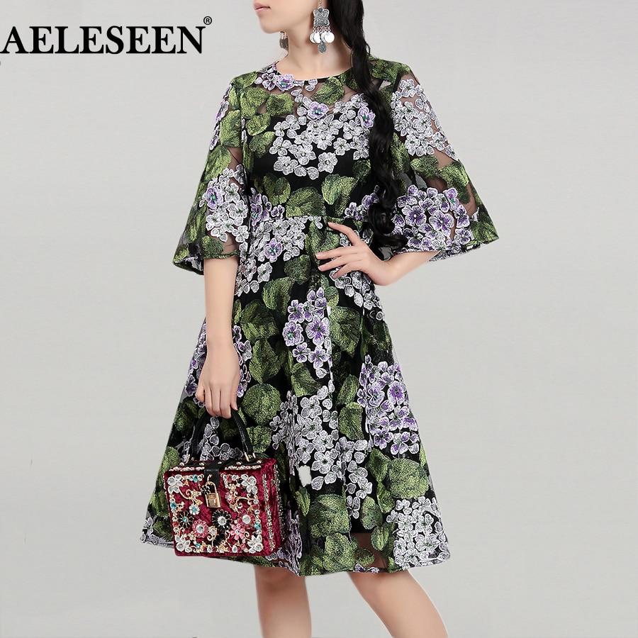 Green Women Noble Dresses 2018 Exquisite European Half Flare Sleeve Hydrangea Embroidery Beading Spring Elegant Runway Dress