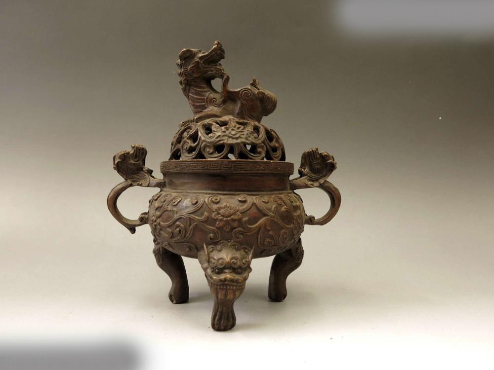 DS China Bronze Censer Carved Fine Copper Six Foo Dogs Lion Incense Burner Statue