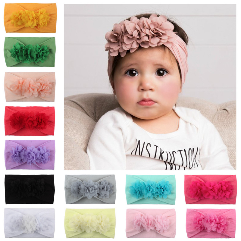 2019 New  Children's Flowers Cute Princess Hair Accessories Hot-selling Chiffon Baby Hairdress Super Soft Nylon Floral Headband