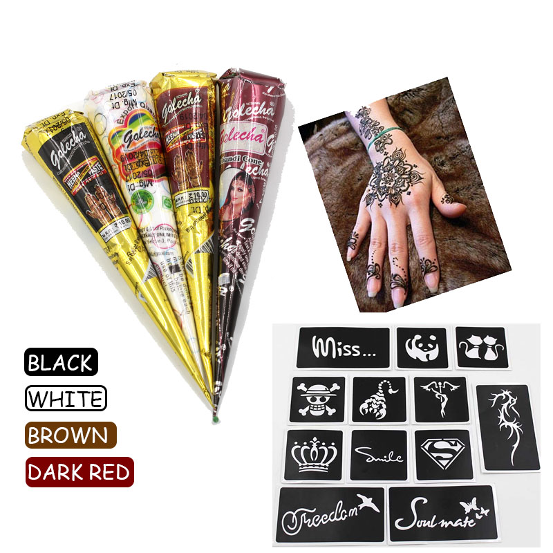 bac811ee5 Black brown red white Henna Cones Indian Henna Tattoo Paste For Temporary  Tattoo body art Sticker Mehndi Body Paint