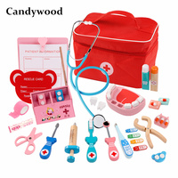 3 styles Set Wooden toys Funny children kids play Real Life Cosplay Doctor game toy Dentist Medicine BoxPretend Doctor Play toys