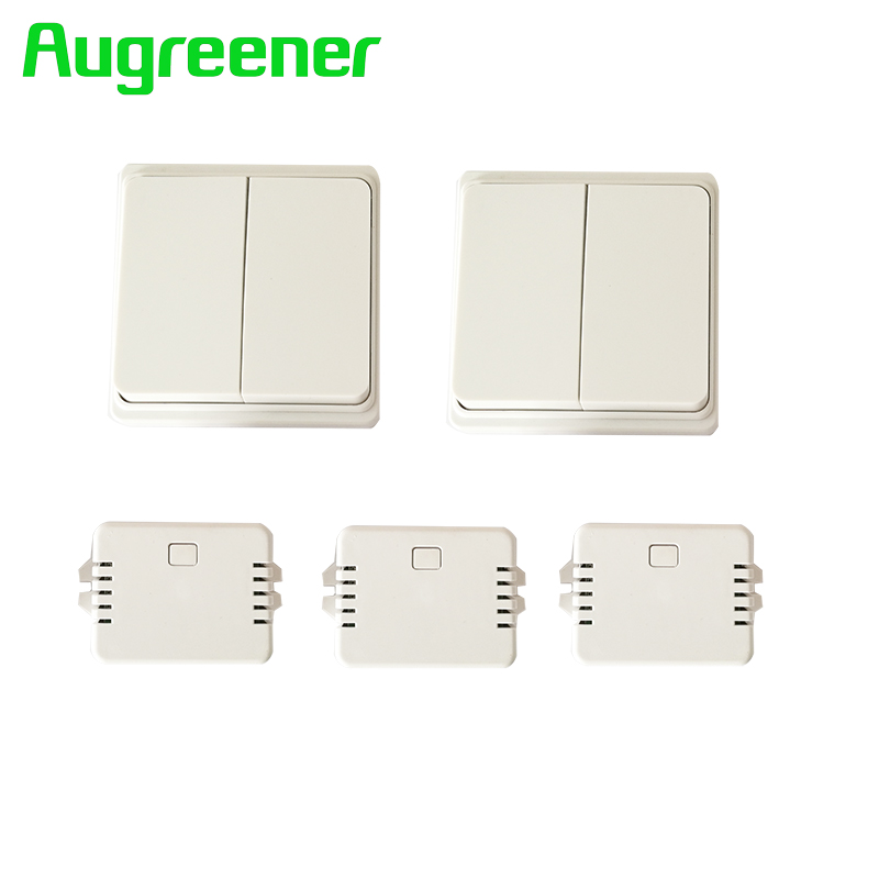 Augreener new wall switch 2 buttons + 3 receivers remote relay remote control light switch 220v 1 gang 2 way push button switch dc24v remote control switch system1receiver